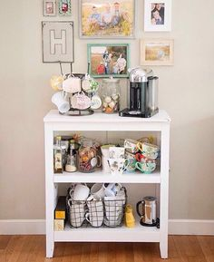 Things That Make Me Happy: My Coffee Station, I'd make it my tea station! Coffee Nook, Coffee Bar Home, Home Coffee Stations, Coffee Carts, My Coffee, Coffe Bar, Coffee Maker, Office Coffee Station, Coffee Station Kitchen