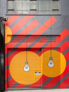 """Old Power Station Gets New Graphics at Melbourne's """"Upper West Side"""" Upper West Side shopping Melbourne Mimi Design Studio. Fray: I really like how this facade is because of the drawing of the light bulbs it seems very original. Graphic Design Agency, Environmental Graphic Design, Environmental Graphics, Upper West Side, Signage Design, Cafe Design, Store Design, Mural Art, Wall Murals"""