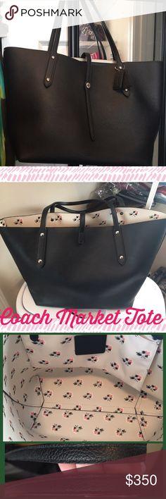 Rare Black Coach Market Tote Bramble Rose Purse Rare market tote in Bramble Rose.  In excellent condition.  Smoke and Pet Free Home. Coach Bags Totes