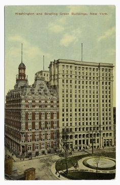 The Washington Building, overlooking the Battery, was constructed in It was completely remodeled with a new facade in New York Architecture, Vintage Architecture, City Hall Nyc, New York City Buildings, Architect Drawing, New Amsterdam, Vintage New York, Old Photos, Facade