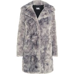 Karl Lagerfeld Faux fur coat ($438) ❤ liked on Polyvore featuring outerwear, coats, jackets, fur, coats & jackets, light gray, light grey coat, imitation fur coats, fake fur coats and karl lagerfeld