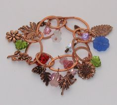 Fairy Garden Copper Charm Bracelet whimsical glass par CactusFrog