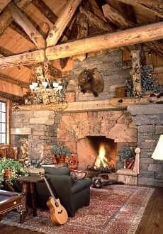 great fireplace in this Montana log home