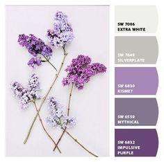 New Bedroom Paint Ideas Accent Wall Purple Color Palettes Ideas Purple Paint Colors, Greige Paint Colors, Purple Color Palettes, Bathroom Paint Colors, Bedroom Colors Purple, Purple Bedrooms, Purple Accents, Living Room Colors, Colour Schemes