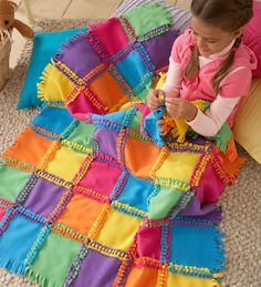 Alex Toys Fleece Knot-a-Quilt Kit. DIY squares to tie up for AJ.