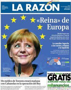 Los Titulares y Portadas de Noticias Destacadas Españolas del 23 de Septiembre de 2013 del Diario La Razón ¿Que le pareció esta Portada de este Diario Español?