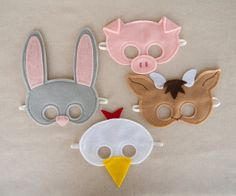 Farm Animal Felt Mask Set that includes a chicken. $36.00, via Etsy.