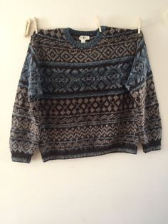 Fair Isle Sweater Blue and Tan Wool Sweater Mens XL by Reneesance