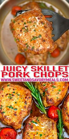 Skillet Pork Chops are pan-seared to perfection and then drenched in a sweet and savory sauce! #recipevideo #sweetandsavorymeals #porkchops #porkrecipes #easydinner Baked Salmon Recipes, Pork Chop Recipes, Meat Recipes, Chicken Recipes, Cooking Recipes, Skillet Pork Chops, Homemade Coleslaw, Slow Cooker Pork, Delicious Dinner Recipes