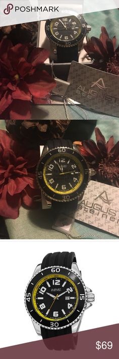 August Steiner Men's Date Strap Watch Swiss Quartz yellow accented with black silicone strap. Case size 50mm, movement- Quartz, water resistant - 30m. Very masculine, great watch. List price $295. Sold with gift box. Great gift to surprise that special someone in your life! August Steiner Accessories Watches