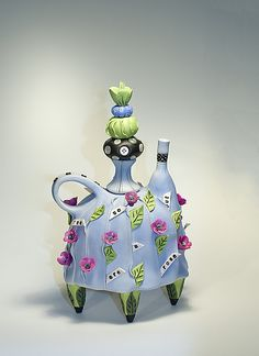 """""""You Of Course Are a Rose""""  Ceramic Teapot    Created by Laura Peery  One of a Kind  One of a kind porcelain and mixed-media teapot, colored with ceramic stains and under glazes, glazed interior. Dust with a clean paintbrush."""