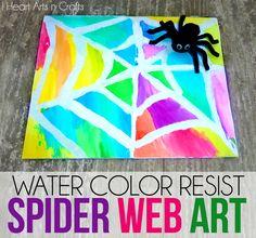 Water Color Resist Spider Web Art