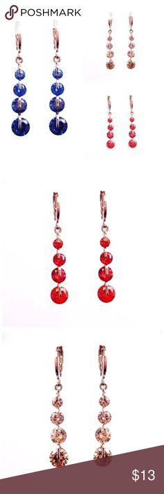 """ED7 Austrian Crystal Drop Dangle Earrings ‼️ PRICE FIRM UNLESS BUNDLED WITH OTHER ITEMS FROM MY CLOSET ‼️    Austrian Crytal Drop Earrings  Lightweight & easy to wear!  Available in deep blue, red, & champagne. They hang down approximately 1 3/4"""".  Please check out my closet for many more items including scarves and designer clothing. Jewelry Earrings"""