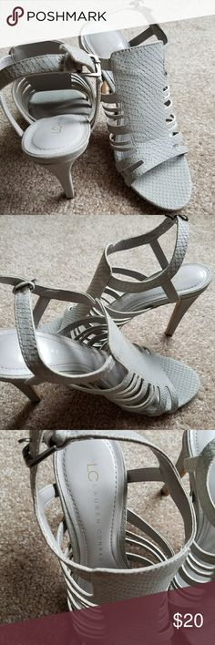 Cyber Monday!Lauren Conrad Faux Snakeskin heels Strappy heels, barely worn. Lauren Conrad Shoes Heels