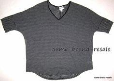 a39beda6d1 AVA   VIV NEW Womens PLUS 2X 20 22 Black White Striped Dolman Sleeve Top  Shirt