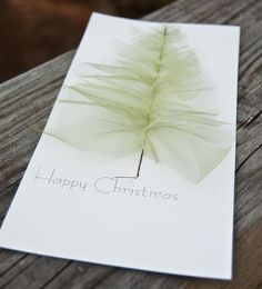 Stitched Tulle Christmas Tree - Christmas Card (set of 6). $20.00, via Etsy.