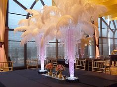 The ostrich feathers are quality plume feathers, they fluffy. Perfect for any centerpiece/decoration. In the centerpieces in the pictures have 40 feather per centerpiece. Banquet Centerpieces, Lighted Centerpieces, Centerpiece Decorations, Floral Centerpieces, Wedding Centerpieces, Bling Centerpiece, Wedding Designs, Wedding Styles, Wedding Ideas