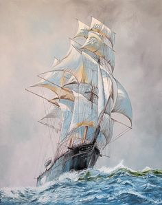Rising Wind. A signed oil on canvas painting, by English artist, Philip Rose, in the style of Montague Dawson.