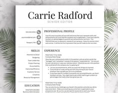 Resume Template | Professional Resume Template | CV Template for Word and Pages | One, Two and Three Page Resume | Instant Download Resume