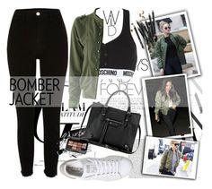 """Bomber Jacket"" by alinnas ❤ liked on Polyvore featuring River Island, Moschino, adidas, Balenciaga and Bobbi Brown Cosmetics"