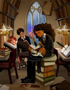 A little late night study sesh featuring BlackHermione!