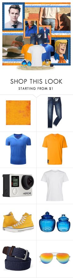 """""""Mr. Mononucleosis, we have hit a clue smorgasboard."""" by aksmasads ❤ liked on Polyvore featuring Versace, McQ by Alexander McQueen, Billabong, La Perla, Converse, Lands' End, men's fashion and menswear"""