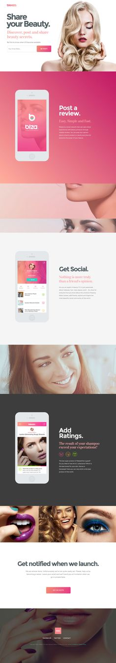 Flat Design Website; Example; Category: Inspiration; Name Website: Bleeza; Type Website: Share your experiences with beauty products; Color: Pink.