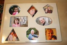 turn a wooden baby puzzle of boring shapes into a family picture puzzle.  Great for babies to learn their extended family. from pinkandgreenmama.blogspot.com