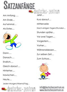 Satzanfänge / Grammatik / gramática / Alemán / Deutsch