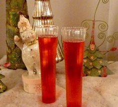 The Poinsettia ~ Pour the following into a fluted champagne glass: 3 ounces of chilled champagne, 1 ounce of triple sec, 3 ounces of chilled cranberry juice. Stir and serve! Couldn't be easier.