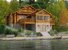 Log cabin on a lake with walkout basement