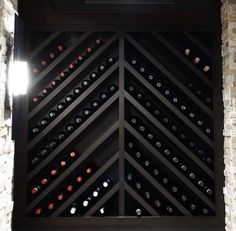 wine storage - could do this idea but with glass on both sides like in previous . wine storage - could do this idea but with glass on both sides like in previous inspiration photo - would make a big Wine Rack Design, Wine Cellar Design, Wine Rack Wall, Wine Wall, Wine Rack Shelf, Wine Cellar Racks, Wine Rack Cabinet, Wine Shelves, Wine Storage