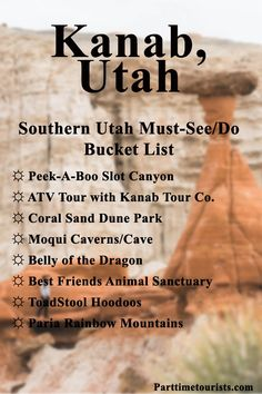 Kanab, Utah is found in Southern Utah! With Slot Canyons, Moqui Caves, Paria Mountains, and the Coral Pink Sand Dune State Park. Utah Vacation, Vacation Places, Places To Travel, Florida Travel, Mexico Travel, Vacations, Kanab Utah, Travel Usa, Travel Vlog