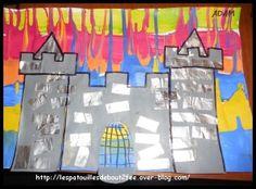 Dans le conte de la princesse au petit pois, la princesse sonne à la porte du château du prince pendant un fort orage. Alors, il a plu sur nos châteaux. Les moyens ont fait de la peinture qui coulent. Puis une grande peinture grise que j'ai découpée en... Chateau Moyen Age, Dragons, Château Fort, Theme Noel, King Queen, Rapunzel, Fairy Tales, Preschool, Galette