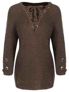 Loose Lace-Up Sweater in Olive Green | Sammydress.com