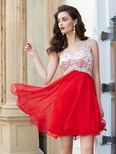 6bdaa076e8c Stylish A-line Princess Beading Sleeveless One-Shoulder Chiffon Short Mini  Dresses