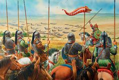 The Visigoths prepare to charge, Catalaunian Fields, 451 AD - art by Peter Dennis