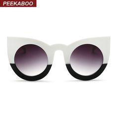 Peekaboo 2017 moda sexy rodada cat eye sunglasses gradiente branco pretas  grandes óculos de sol para senhoras mulheres olho de gato de luxo oculos 94e5b4480c