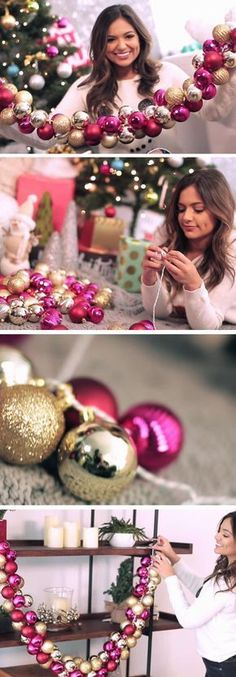 home decor christmas DIY Christmas Ornament Garland. Create this festive garland with Christmas ornaments in the colors of your choosing. It will be a glamourous addition on the holidays. Noel Christmas, Diy Christmas Ornaments, All Things Christmas, Winter Christmas, Christmas 2019, Vintage Christmas, Christmas Lights, Ornaments Ideas, Christmas Feeling