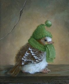So dear, this wee Winter Sparrow! As a Knitter - and a Bird-lover n' feeder...  This artwork just tickled my funny-bone!  <3