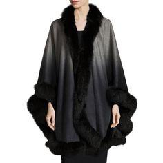 Sofia Cashmere Fox-Fur-Trim Ombre Scarf (706.835 HUF) ❤ liked on Polyvore