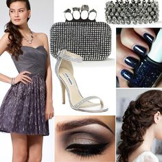 Dress, bracelet, and clutch by Caché. Shoe, Steve Madden. Essie nail polish in Starry Starry Night #prom