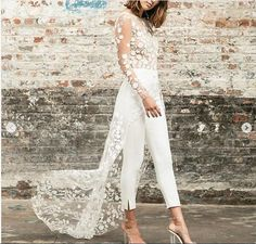 Simple Beach Wedding Dresses Boho Bridal Gowns Sexy Crew Neck Delicate Lace Trousers Wedding Dresses from Babybridal Wedding Pants, Wedding Jumpsuit, Boho Wedding Dress, Wedding Dresses, Long Sleeve Bridal Dresses, Short Long Dresses, Bridal Gowns, Unique Dresses, Simple Dresses