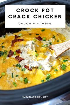 Crock Pot Crack Chicken is an easy crockpot recipe that takes only 10-minutes to prep. Tender chicken, ranch seasoning, cream cheese, cheddar cheese, and crispy bacon slow cooked into a creamy, addictive meal. It's great for pasta, sandwiches and even as a dip! A great Keto recipe! Crack Chicken Crock Pot, Crock Pot Dips, Crock Pot Slow Cooker, Slow Cooker Recipes, Crockpot Recipes, Healthy Recipes, Chicken And Cheese Recipes, Chicken And Beef Recipe, Quick Puddings