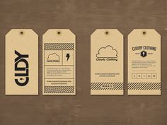 Cloudy Clothing hang tags By Jordan Mahaffey Label Design, Packaging Design, Hangtag Design, Shirt Packaging, Digital Paper Free, Digital Papers, Swing Tags, Clothing Tags, Graphic Design Services