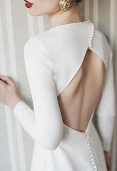 open back wedding dress, modern bride, minimalist bride, st … – Wedding Gown Keyhole Back Wedding Dress, How To Dress For A Wedding, Long Sleeve Bridal Dresses, Bridal Gowns, Wedding Dresses, Dress Long, Wedding Dress Buttons, Classy Wedding Dress, Classic Wedding Gowns