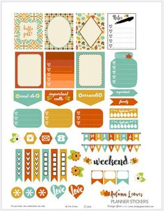 Autumn Leaves-Planner-Stickers | Free printable, preview.