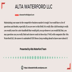 """Alta Waterford LLC is a business consulting company that hires management analysts or business consultants. These professionals are ready to help you manage, organize, plan, and make successful strategies for your enterprise's growth! 👉altawaterfordllc@gmail.com """"Hit The Save Button & Follow Us"""" #AltawaterfordllcWordpress #Helpyoutogrow #MarketingAgency #ConsultingAgency Consulting Firms, Competitor Analysis, Business Marketing, Kids Learning, Organize, Wordpress, Management, Success, Names"""
