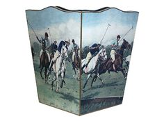 Polo Wooden Decoupage Wastepaper Basket