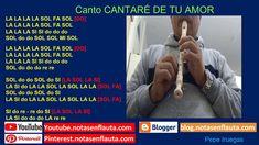 Canto CANTARÉ DE TU AMOR Notas para Flauta Flute, Amor, Report Cards, Sweet